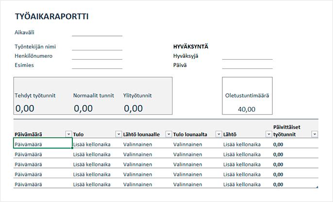 Deltabitin ilmainen työajanseuranta Excel-pohja viikkoylityöt